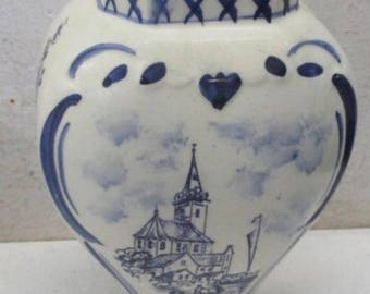 Vintage Delfts Blauw Porcelain Urn Vase - Hand Painted and Made in Holland