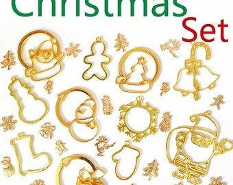 25pcs/pack Christmas trees Snowflake Snowman Shape Metal Frame Pendant Gold Charm Bezel Setting Cabochon Setting UV Resin Charm