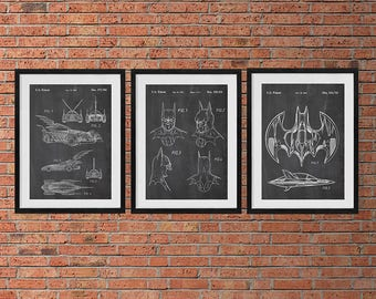 Batman Patent Print Set Of 3, Batman Patent Wall Art Poster, Batwing, Batmobile, Batman Mask, Batman Art, Batman Poster, Set Of Three Prints