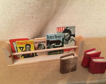 Dollhouse magazines and books with rack