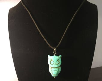 Turquoise Owl Pendant on Black Cord Necklace