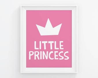 PRINTABLE Little Princess Poster. Girls Room Wall Art, Kids Bedroom Decor. Children Sign, Digital Prints, Printable Quote. Baby Girl Nursery