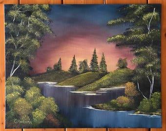 Original oil painting sunset lake signed 16x20