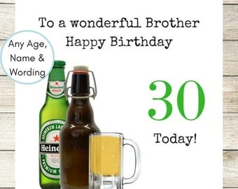 Handmade Personalised Birthday Card, Male Birthday Card, Dad, Son, Brother, Nephew, Daddy, 30th, 40th, 50th, 60th, 70th Men's Beer Card