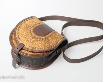 Yellow leather purse,embossed leather purse, round leather bag, brown purse womens, crossbody bag, gift for her, unique purse