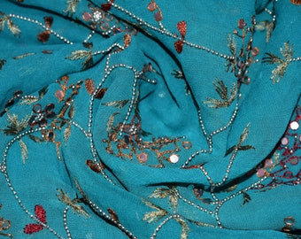 Indian Culture Blue Georgette Scarf Full Silver Beads Work Dupatta Craft Fabric Stole