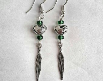 Pendant earrings with sweetheart and leaf or silver pendant