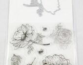 7 Silikonstempel und 1 Stanzschablone Blumen rund Blumen Kranz Karten Basteln Verzierungen Dekoration