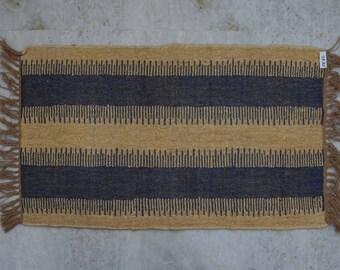 "Handmade Jute Rug, Wool Rug, Natural Rug, Blue Rug, Area Rug, Scandi Rug, Diamond Rugs, 2x3'6"" Runner, Eco Friendly Rug, White Rug"