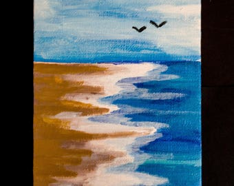 Sky and Sea Acrylic Painting (4x6)