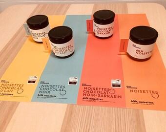 set of 4 blocks of hazelnut spread