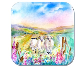 Counting Sheep - Sheep Coaster (Corked Back). From an original Sheila Gill Watercolour Painting