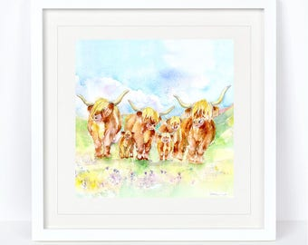 Highland Cow Print. Printed from an Original Sheila Gill Watercolour. Fine Art, Giclee Print, Hand Painted, Home Decor