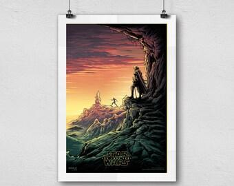 Star Wars Episode VIII The Last Jedi Luke Skywalker training Rey Movie artwork alternative cover home decor poster