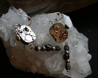 Watch gear steampunk earrings