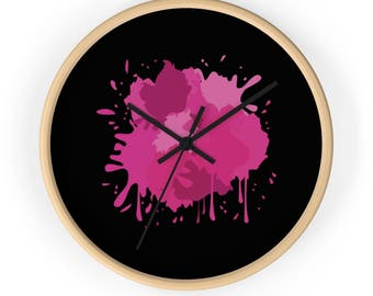 Pink Splash Wall Clock, Modern Wall Clock