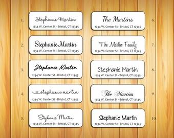 Personalized Return ADDRESS Labels - Family Name 2, Wedding, Newlyweds, Sets of 30
