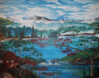 4ft by 5ft unframed painting titled Whispering Wind Songs
