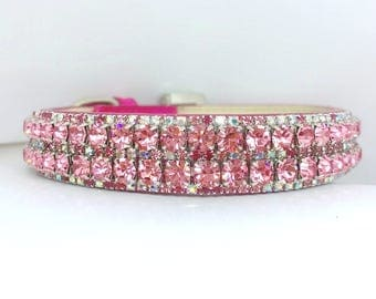 Fantasy Forest Pets ~Rose Pink & Aurora Borealis~ WIDE Crystal Bling Rhinestone Dog Pet Necklace Collar USA