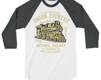 National Railway 3/4 sleeve raglan shirt
