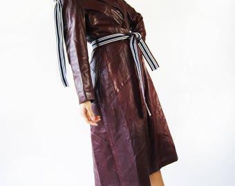 Vintage 1970's GENUINE LAMB LEATHER Burgundy coat