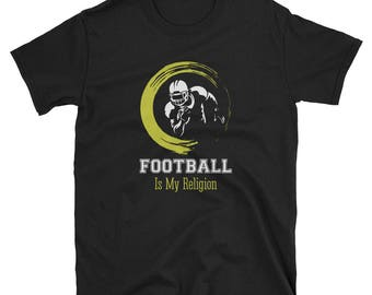 Football Is My Religion Ball T-Shirt Funny Cute Gift Tee