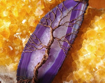 Copper tree of life on purple agate slice