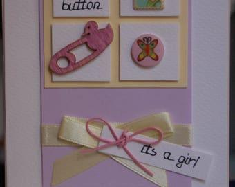 Cute as a button girl handmade card