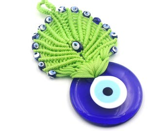 Pistachio green macrame Evil Eye - Handmade Turkish Evil Eye Wall Decor - New Home Gift - Evil Eye Wall Decor