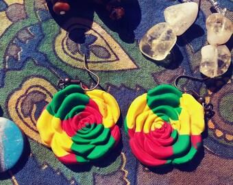 Handmade polymer clay rasta color rose dangles
