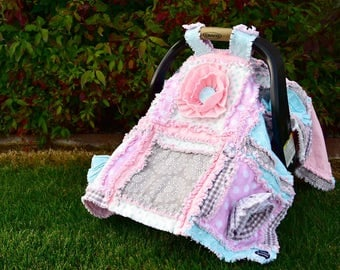 Ruffle Flower Rag Quilt Pattern for a Car Seat Canopy - Girl Quilt Pattern - Sewing Pattern - Baby Quilt Patterns - Baby Quilt to Make