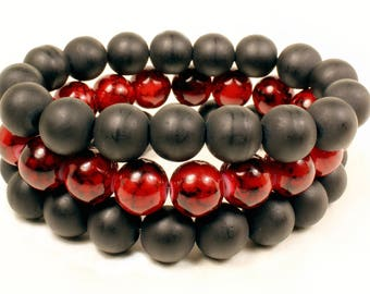 Men's Deep Red and Matte Black Beaded Stretchable Bracelet Stack
