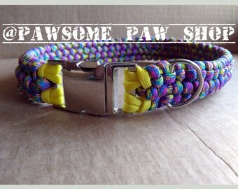 Handmade Diva Dog Collar - Custom Wide Thick Paracord Dog Pet Collar with D Ring