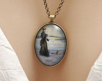 Edwardian lady looking out to sea, Vintage water-colour art, large oval Picture Pendant, 40x30mm, glass dome pendant, cameo