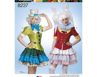 Simplicity Pattern 8237 Misses Alice in Wonderland Mad Hatter, White Rabbit, Cosplay Costumes Size H5 6-14