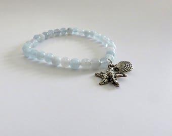 Aquamarine beads bracelet
