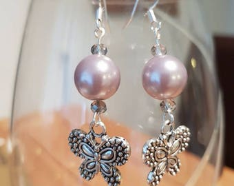 Butterfly and pearl dangle earrings