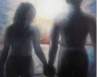 Couple in the Sea, Large Oil Painting, Original Art