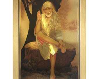 Sai Baba Of Shirdi Hindu God In Size 22″ x 16″ Inches Photo Picture Frames