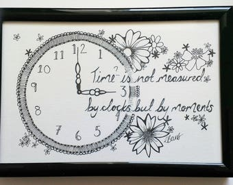 Time is not measured by clocks but by moments- Typography and Illustration- Quote