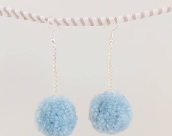 Non Molly Blue Bird - handmade pom-pom earrings