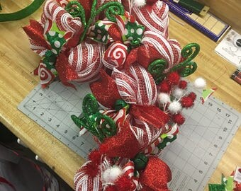 Whoville inspired Candy Cane shaped Deco Mesh Wreath