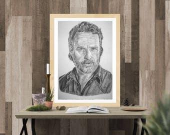 Rick Grimes - The Walking Dead Sketch A4 Print