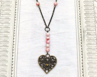 Heart  filigree charm Love Necklace