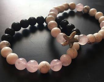Lava stone rose quartz and howlite