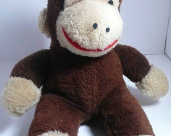 CHARMING Curious George Wind-Up Music Bos Stuffed Toy, plays a famous Lullaby 1970s Knickerbocker