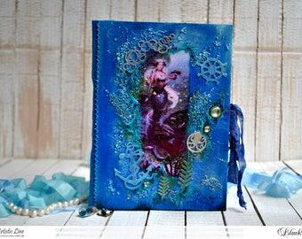 Seaside notebook with mermaid mixedmedia journal notebook, art journal, mermaid, fairytale gift, magical book, sea notebook, magical journal