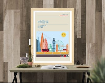 Built this city on Sausage Rolls, Starship Misheard Song Lyric Poster, Print