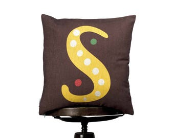 "Pillow Cover S monogram, bright color pillow cover, 16x16"", cotton cushion art cover, dark background, Multi-Coloured, Child-safe printing."