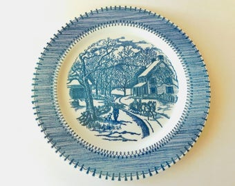 Currier & Ives Country Life Dinner Plate - Edwin M. Knowles China Co. - Blue Transferware - Victorian Farm Scene, Horse Drawn Sleigh